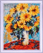 Sunflowers ina vase after C. Monet