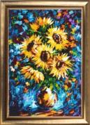 Sunflowers in a vase (after L. Afremov)